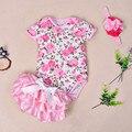 Летняя Мода европейский стиль детская одежда набор девочка Цветок печати с коротким рукавом боди брюки 3 peices Новорожденных одежда