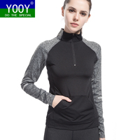 Women Running Jacket Long Sleeved Stand Collar Sport Jackets Sweatshirt Cloth Quick Dry Fitness Zipper