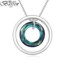 BAFFIN High Quality Double Circle Necklaces Crystal Collier Made With SWAROVSKI Elements Women Fashion Jewelry(China)