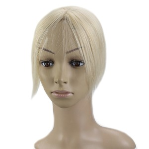 Full Shine Hidden Crown Remy Hair Piece Cap Size 13x13cm Solid YellowBlonde Color #613 Mono Hair Topper Free Part Toppers