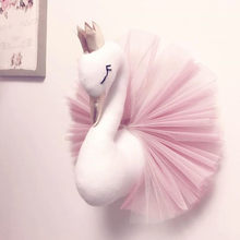 Cabeza de Animal Swan Flamingo pared montaje de peluche de felpa de juguete muñeca de princesa para niña bebé chico regalo vivero pared decoración(China)