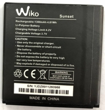 New original High Quality 3.7V 1300mAh Wiko Sunset  Battery for mobile phone