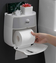 Multifunctional Practical Dual-layer Waterproof Bathroom Toilet Wall Mount Paper Roll Holder With Drawer Accessories