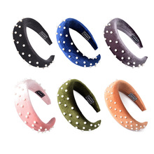 Candygirl Thick Velvet Pearl Headbands Hairband for Women Lady Fashion Headwear 5CM Wide Plastic Hair Hoop Accessories