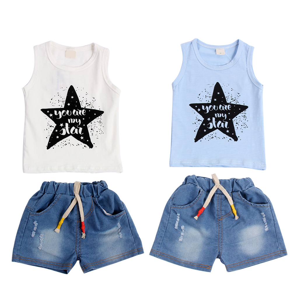 2017 New Baby Boy Girls Clothes Set Summer Sleeveless Vest+Shorts Jeans 2pcs Children Clothing Set Kids Fashion Outfits For 1-3Y baby kids baseball season clothes baby girls love baseball clothing girls summer boutique baseball outfits with accessories