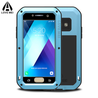 For Samsung Galaxy A3 2017 Case Waterproof Shockproof Gorilla Glass Aluminum Metal Frame Armor Cover For