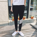 2016 New Arrival Summer High Fashion Men Casual Skinny Pant Black Trouser Slim Fit Striped Printed Top Selling Hip Hop Sweatpant