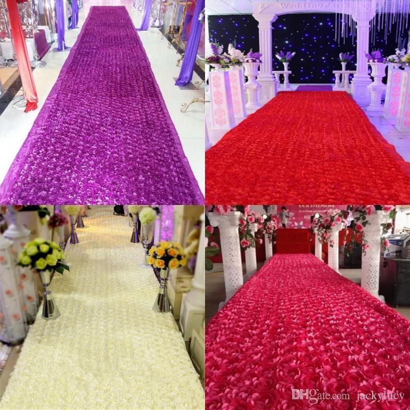 10 m / lot 1,4 m largeur romantique blanc 3D pétale de rose tapis - Pour les vacances et les fêtes - Photo 3