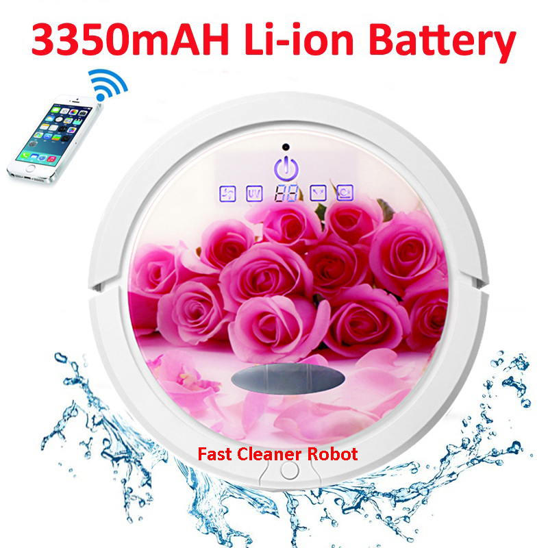 Rose Couleur WIFI Smartphone App Contrôle Date Venir Humide Et Sec Robotique Aspirateur Pour La Maison QQ6 Avec Réservoir D'eau