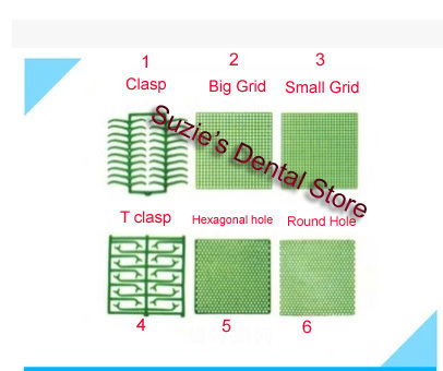 1box Dental Lab Wax Mesh Wax Net Round Square Clasp Wax Sheet 6 Types For Cast Metal Partial Design