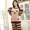 Sleepwear women winter flannel pajama sets merbau coral fleece pajamas sleepwear thickening cartoon bear with a hood lounge