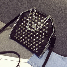 2016 European and American fashion handbags/fall shoulder bag/rivet chain leisure handbag/PU leather casual women messenger bag