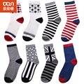 8 pçs/lote nova britânico bandeira da listra meias de algodão dos homens engraçado happy socks dos homens lazer summer socks multi-cores de alta qualidade venda quente