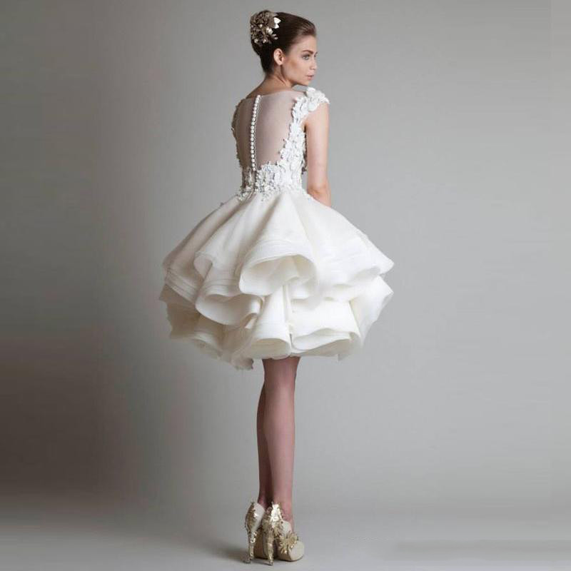 2016 White Cocktail Dresses Jewel Sleeveless Appliques Sexy Back Short Tutu Tulle Skirts Mini Evening Ball Gowns Formal Party Dresses