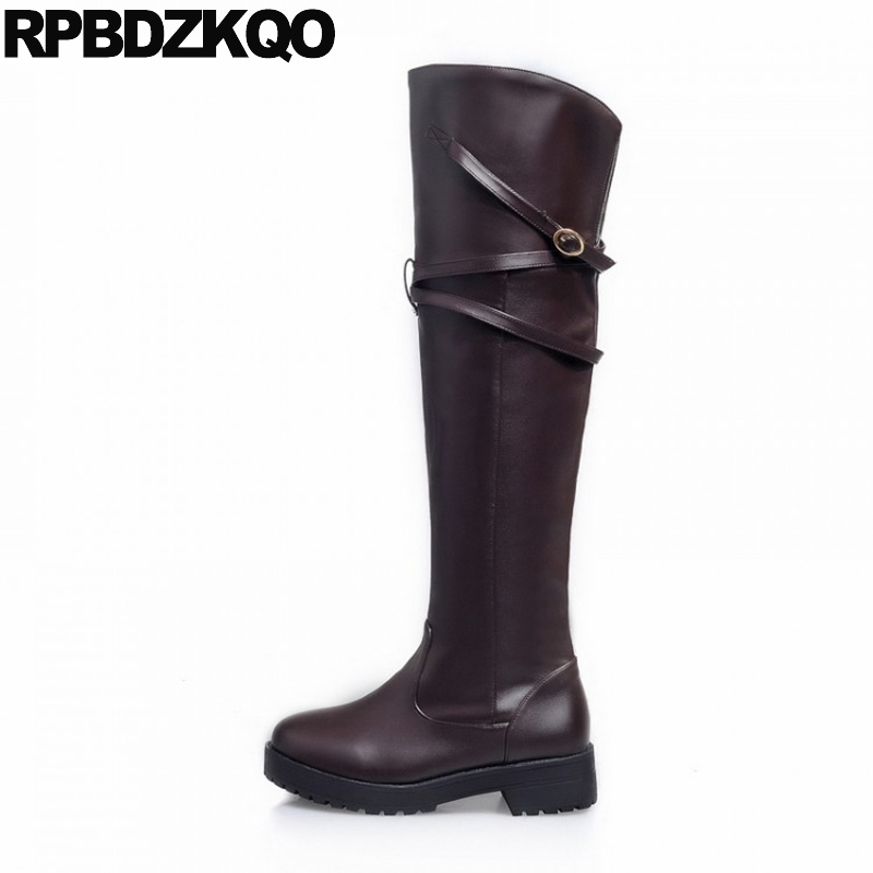 Brown Thigh High Boots For Plus Size