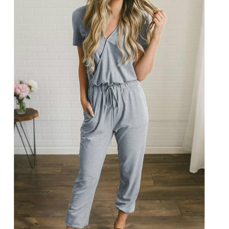 Deep V Neck Black Sexy Solid Pocket   Jumpsuit   Women Summer Short Sleeve Long overalls Female Sport Romper Casual Cotton Bodysuit