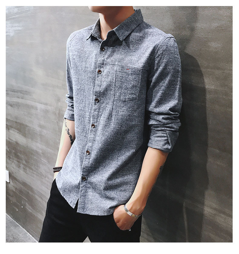 2019 spring new men's shirt Korean version of the self-cultivation youth casual business cotton shirt tide men's boutique shirt 40