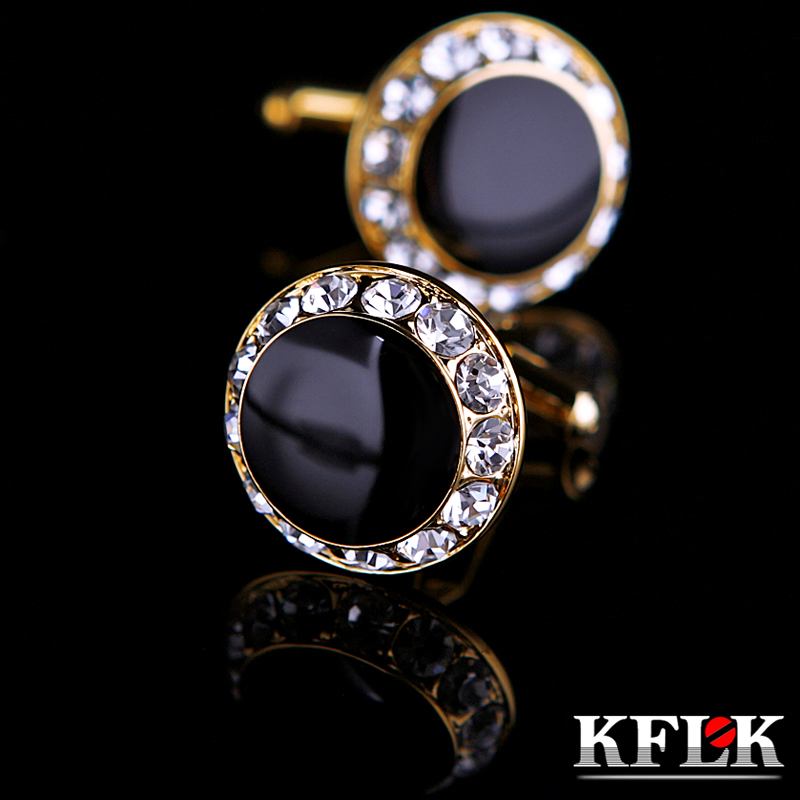 KFLK Jewelry shirt french cufflinks for men Brand Crystal Cuff link Button Gold-color High Quality Luxury Wedding guests