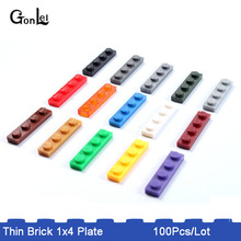 100Pcs/Lot Plate 1 x 4 Bricks Small Particles Building Blocks Accessory Compatible with No.3710 MOC Brick DIY Toy Gifts цена в Москве и Питере