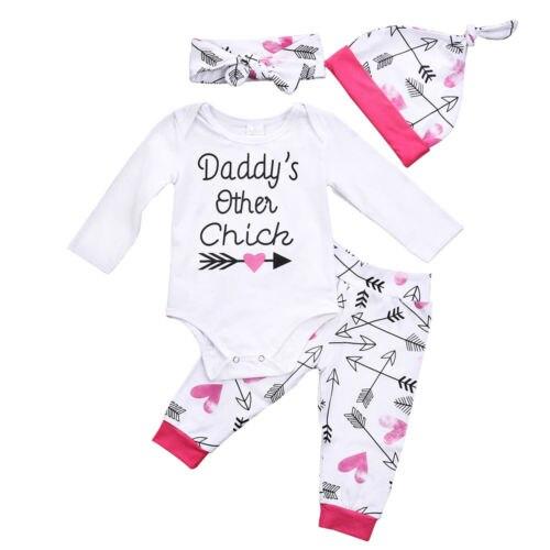 3pcs Set Autumn Infant Baby Girls Cotton Tops Long Sleeve Romper Leggings Pants Hat 4Pcs Outfits Cotton Toddler Clothes 0-24M