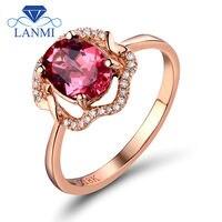 Новые розовый бриллиант Турмалин Золотое Кольцо овальным вырезом 6x8 мм 18 К розового золота обручальное кольцо, натуральный Ювелирные издел