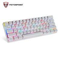 MOTOSPEED CK62 Keyboard Wired/Bluetooth Keyboard Dual Mode Mechanical Keyboard 61 Keys RGB LED Backlight Gaming Keyboard