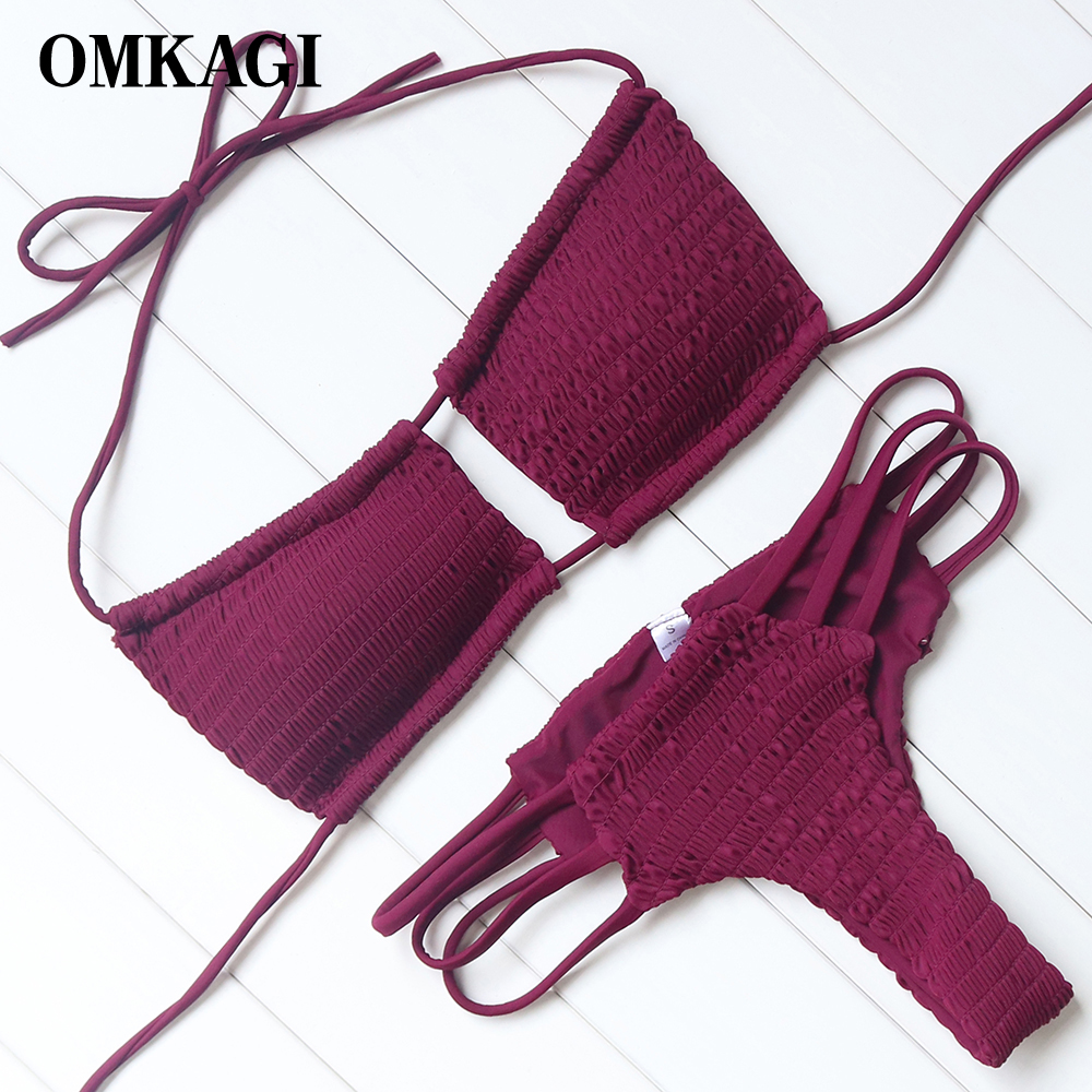 OMKAGI Swimsuit Swimwear Women Biquinis Push Up Bikinis Set Swimming Bathing Suit Beachwear Maillot De Bain Femme Bikinis Women