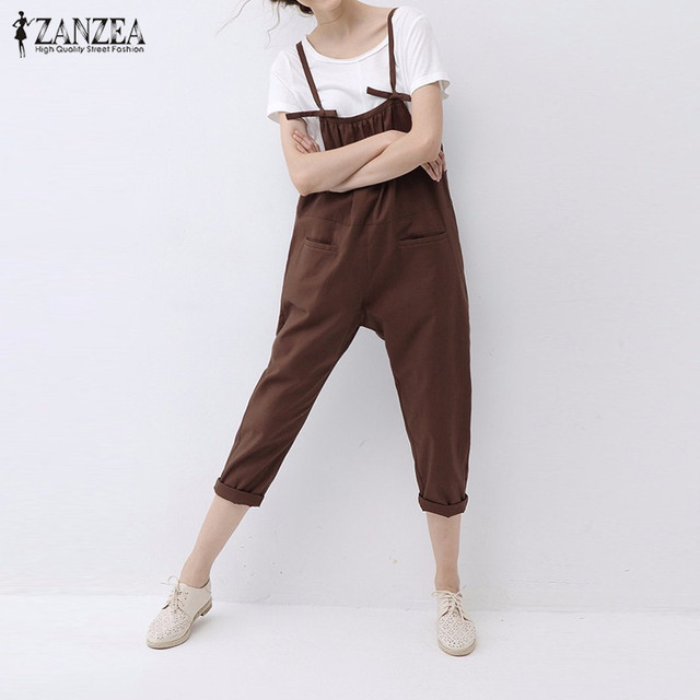 ZANZEA 2016 Fashion Rompers Womens Jumpsuit Vintage Elegant Spaghetti Strap Playsuits Solid Cotton Plus Size Overalls