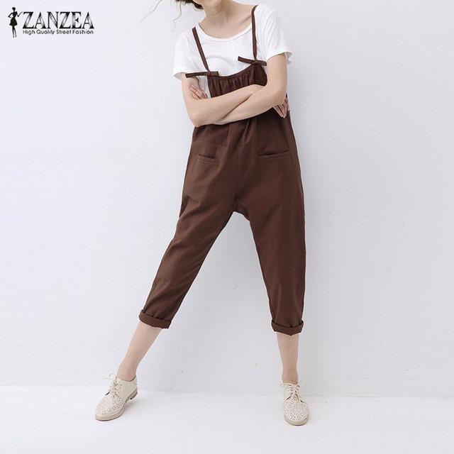 ZANZEA Moda 2016 Rompers Womens Jumpsuit Do Vintage Elegante Spaghetti Strap Playsuits Algodão Sólida Plus Size Macacão