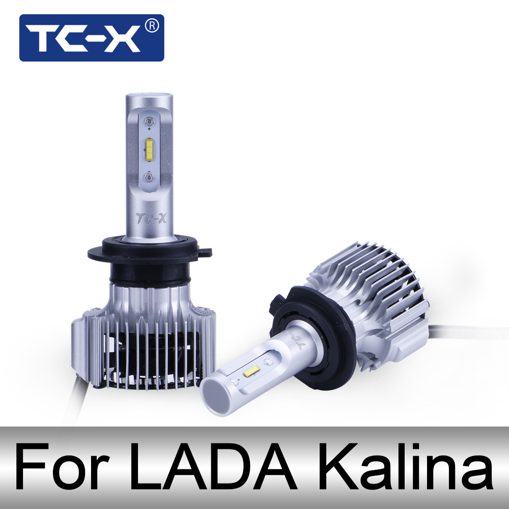 TC-X LED Ô Tô Đèn Pha Đối Với LADA KALINA 1 2 H1 H4 H7 LED Cao Thấp Chùm Đèn Pha H11 9006 LED Đèn Sương Mù Bulbs Warm Trắng