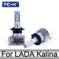 TC-X LED 자동차 헤드 램프 LADA 1 2 H1 H4 H7 높은 낮은 빔 헤드 라이트 H11 9006 LED Foglights 전구 따뜻한 화이
