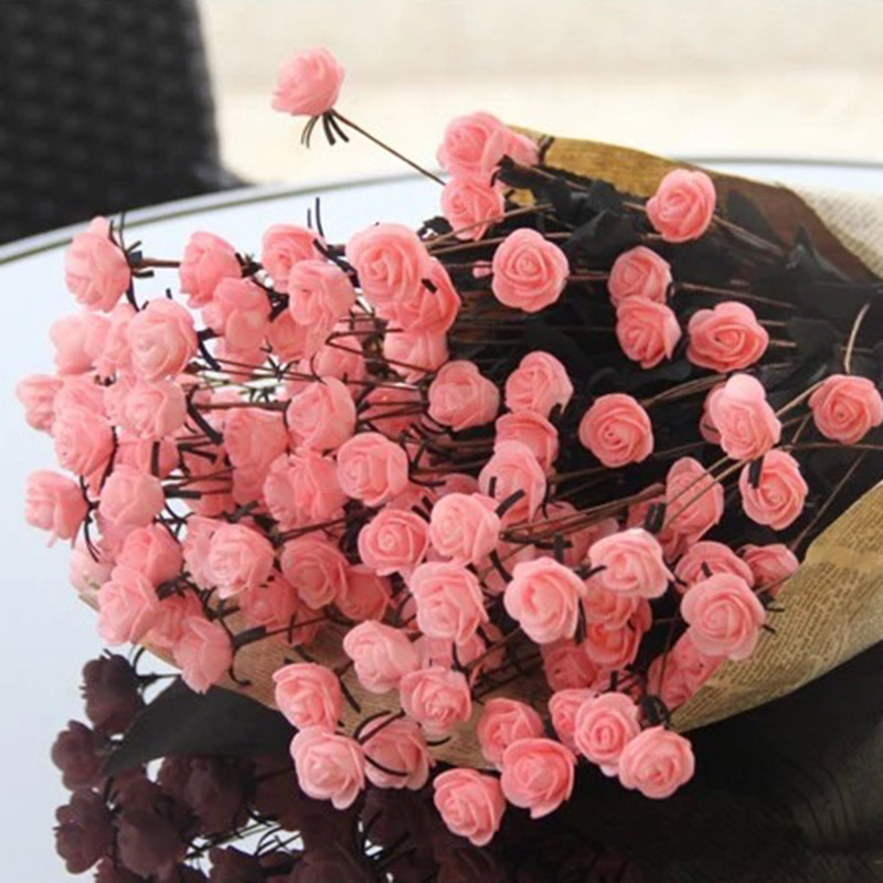 New 15-Head Artificial Simulat Rose Bouquet Silk Fake Flowers Wedding Party Home Table Decoration thumbnail