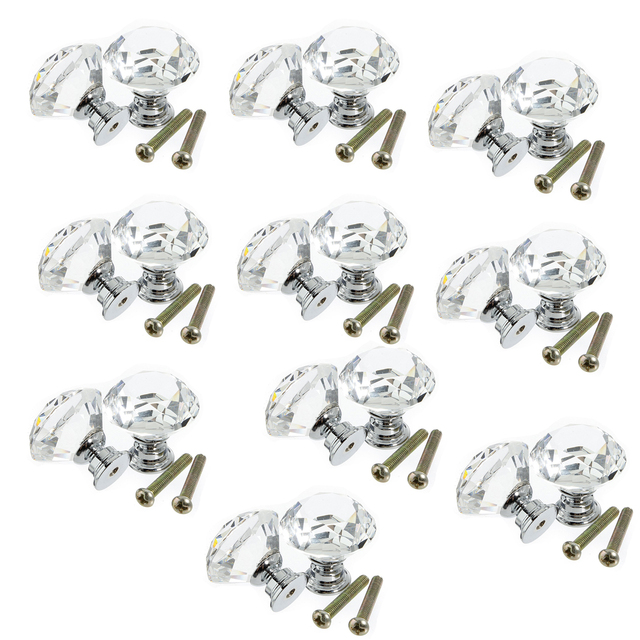 10pcs 30mm Diamond Crystal Glass Door Drawer Cabinet Furniture Handle Knob Screw