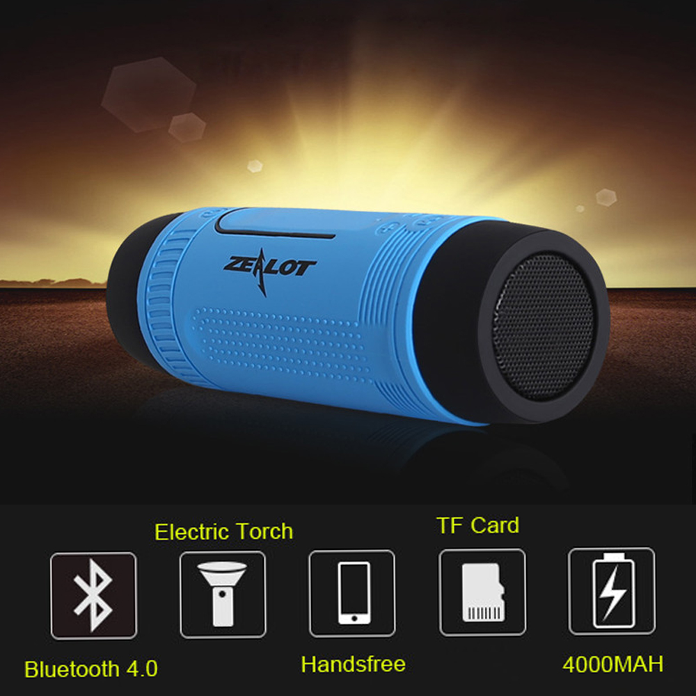 Wireless Column Bluetooth Speaker Zealot S1 Portable Subwoofer Waterproof Outdoor Riding Stereo Speakers LED Flashlight Altavoce