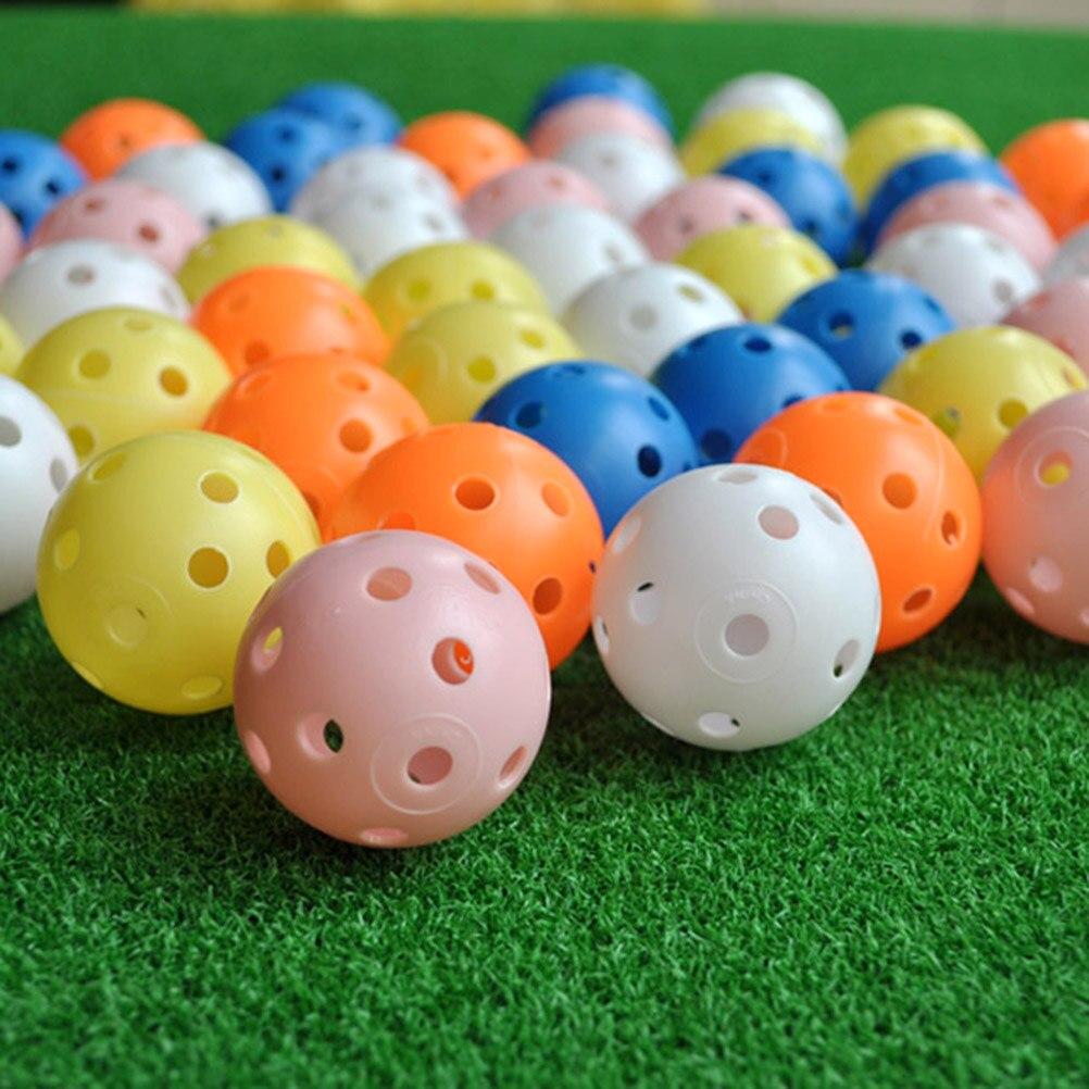 20Pcs Colorful Plastic Airflow Hollow Golf Ball Indoor Practice Training Balls Golf Accessories Golf Practice Balls
