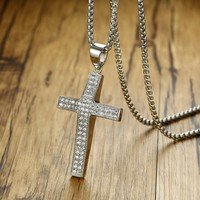 Men S 3D Arc CZ Stone Micro Pave Latin Cross Pendant Necklace For Men Stainless Steel