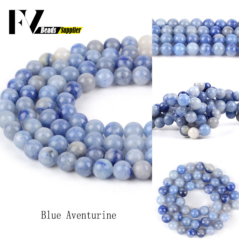 Perles Blue Aventurine Stone Natural Round Beads For Jewelry Making 4 6 8 10 12mm Spacer Beads Women Diy Bracelet Wholesale Beads