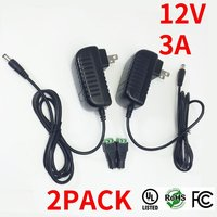 Free Shipping 2pcs Lot AC DC Adapter 3A 36W Wall Mounted UL Listed AC100 240V To