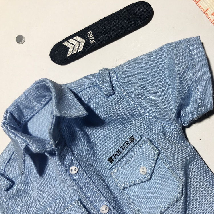 1/6 Scale <font><b>Hongkong</b></font> Policeman's Short Sleeve Blue <font><b>T</b></font>-<font><b>shirt</b></font> <font><b>Shirt</b></font> Models Toys Gifts for 12''Action Figures Accesories DIY image