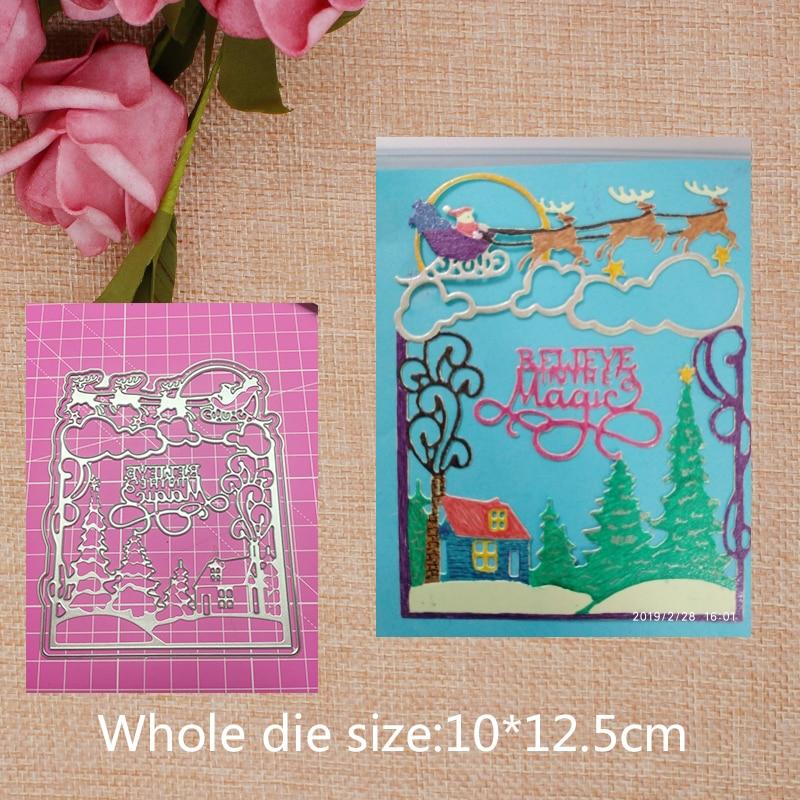 Tree Deer Cloud Metal Cutting Dies for craft Scrapbooking Stamps DIY  Card making New 2019 10*12.5cm