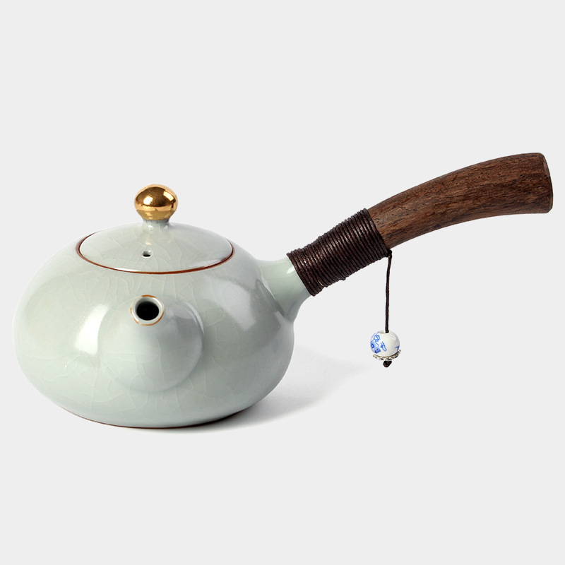 Image 4 - PINNY New Design Japanese Style Teapots Ceramic Wood Handle Kung Fu Tea Sets Porcelain Ceramic Kettle Vintage Tea Serviceservice teaservice setservice porcelaine -