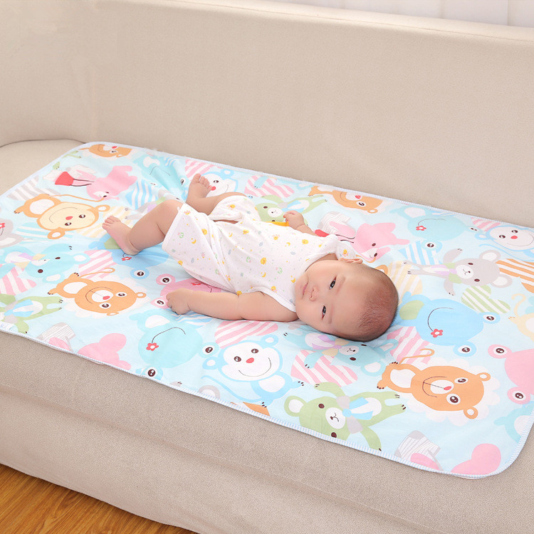Cartoon Cotton 3 Layers Baby Waterproof Mat Large Baby