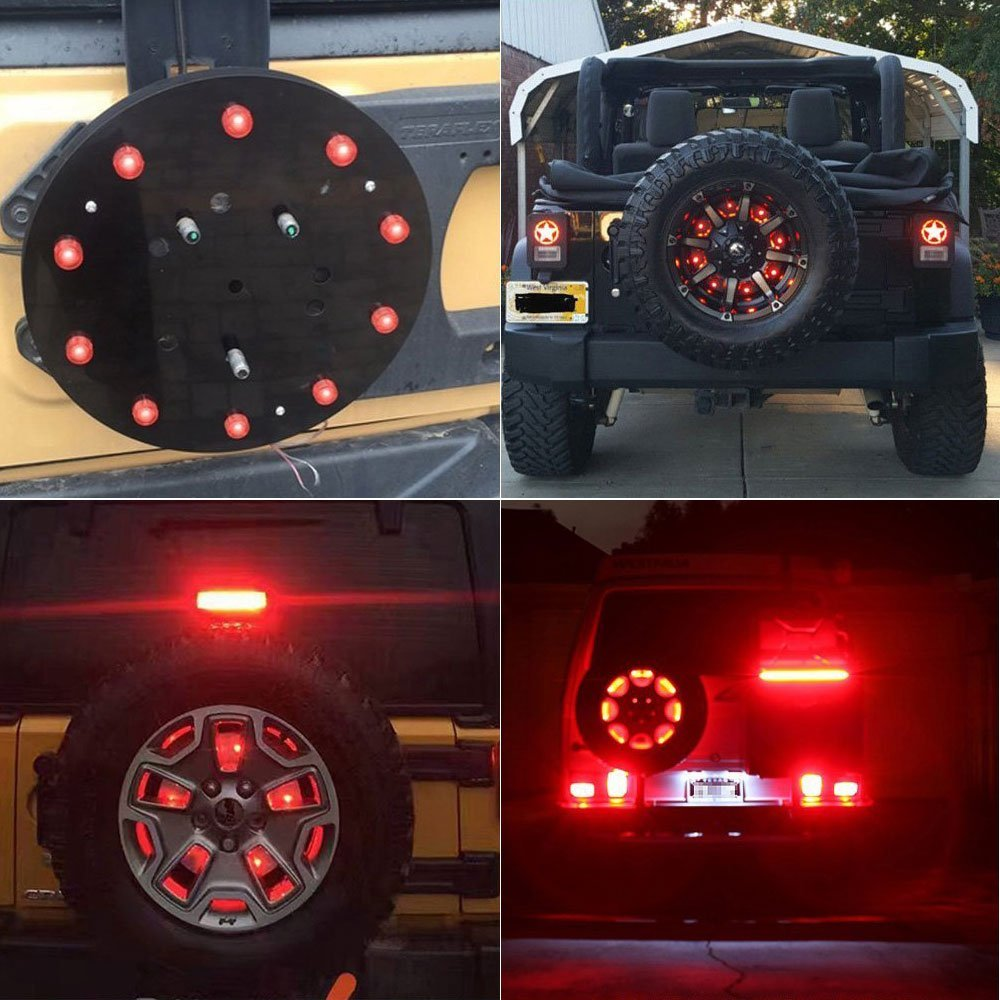 ФОТО 1pc Newest Round Spare Tire Wheel LED 3rd Brake Light For Jeep Wrangler 1986-2017