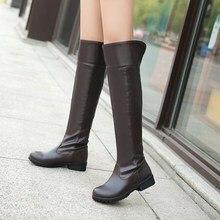 Зимние сапоги, женские модные сапоги До Колена Для Женщин, повседневная женская обувь на платформе и низком каблуке, зимняя обувь для женщин