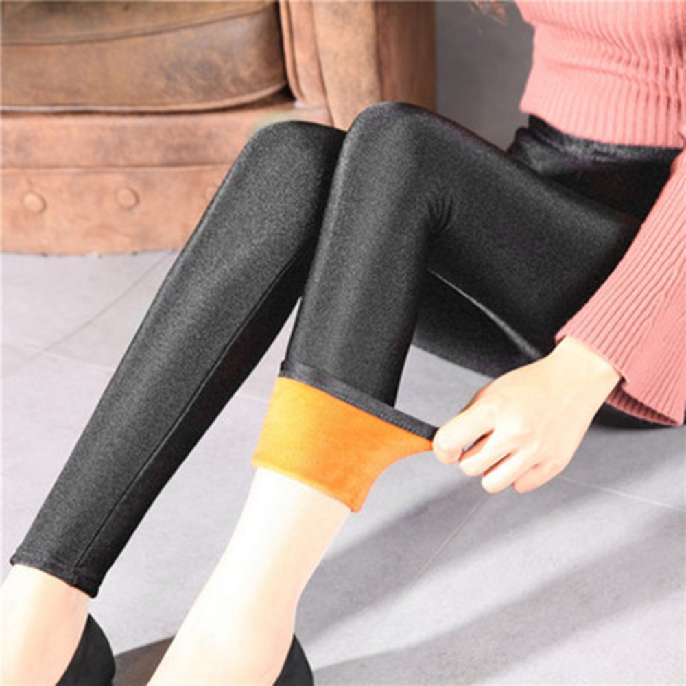 Women Female Glossy Shiny Leggings Lady Sexy Black Pencil Pants Slim Elastic Leggings Skinny Trousers For Autumn Winter 2017 New