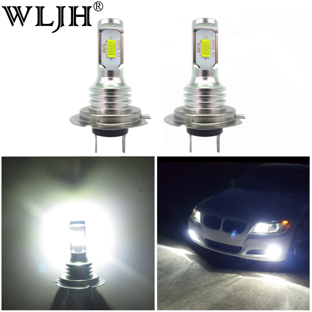 WLJH 2x Canbus Bright White 12V 24V 1000lm Car H7 Led Light Cree Auto Bulb Projector LEN Fog Lights Driving Lamp for Audi
