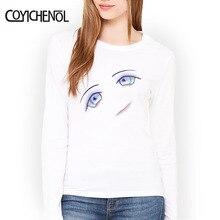 Fashion cartoon eyes printed solid color tshirt Women long Sleeve slim t-shirt homme funny design  COYICHENOL