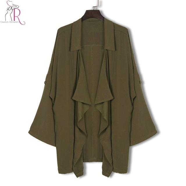 Mulheres do exército verde trench coat lapela assimétrica bolso lateral da frente aberta casual casacos 2017 nova primavera queda breve magro clothing