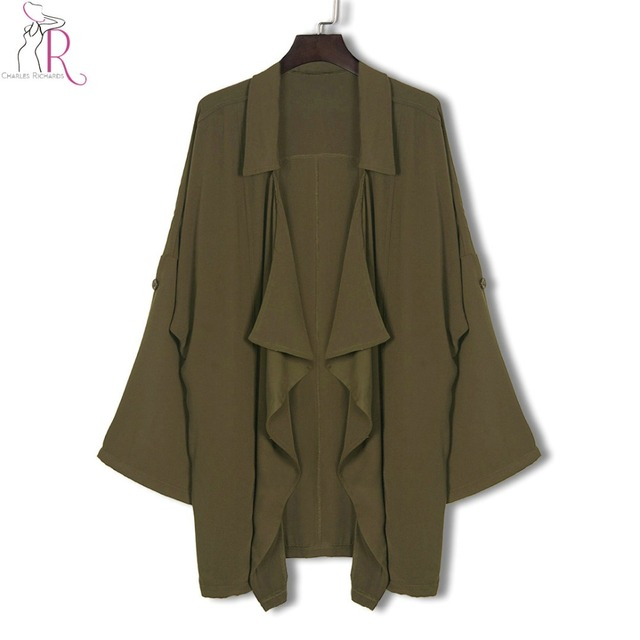 Women Army Green Trench Coat  Asymmetrical Lapel Side Pocket Open Front Casual Coats 2017 New Spring Fall Slim Brief Clothing