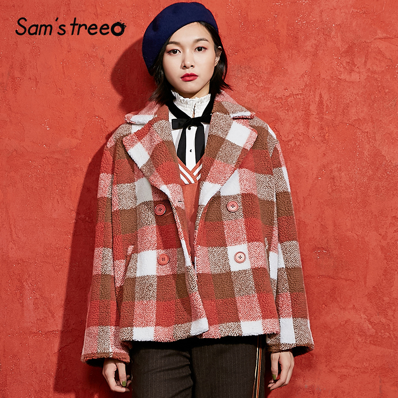 orange Double À Mélanges Col Manteau Plaid Boutonnage Samstree Preppy Outwear Hiver Green Femmes Turn Court Femme down Style 8qRUzwqT